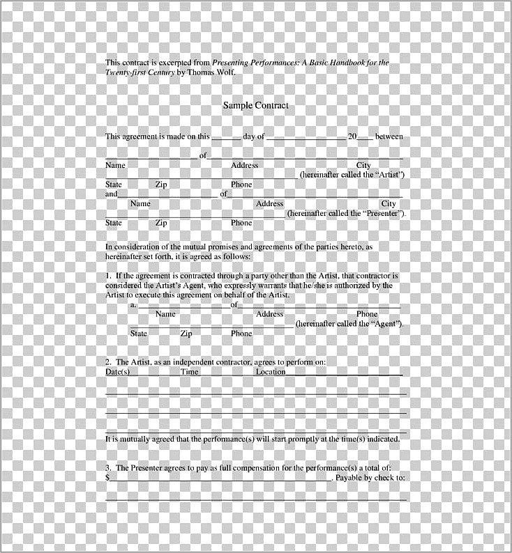 Manager Artist Contract Template