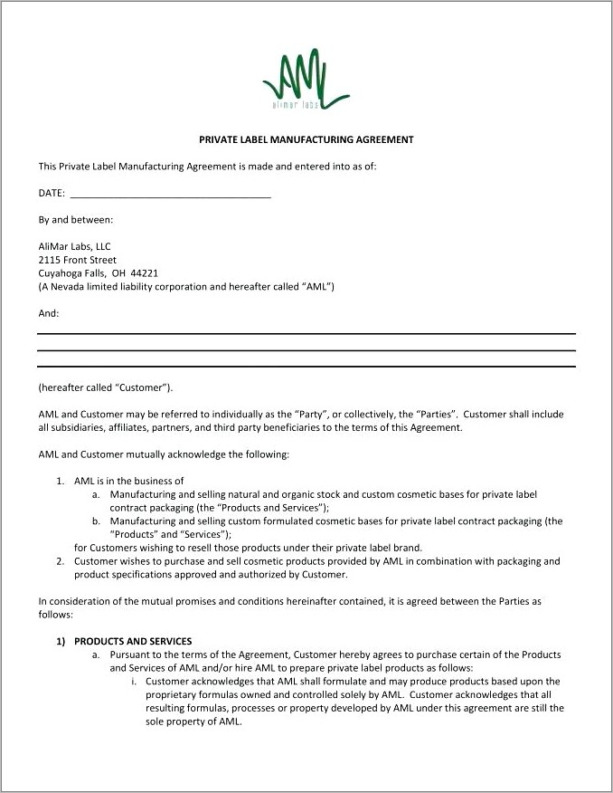Manufacturing Agreement Template Uk