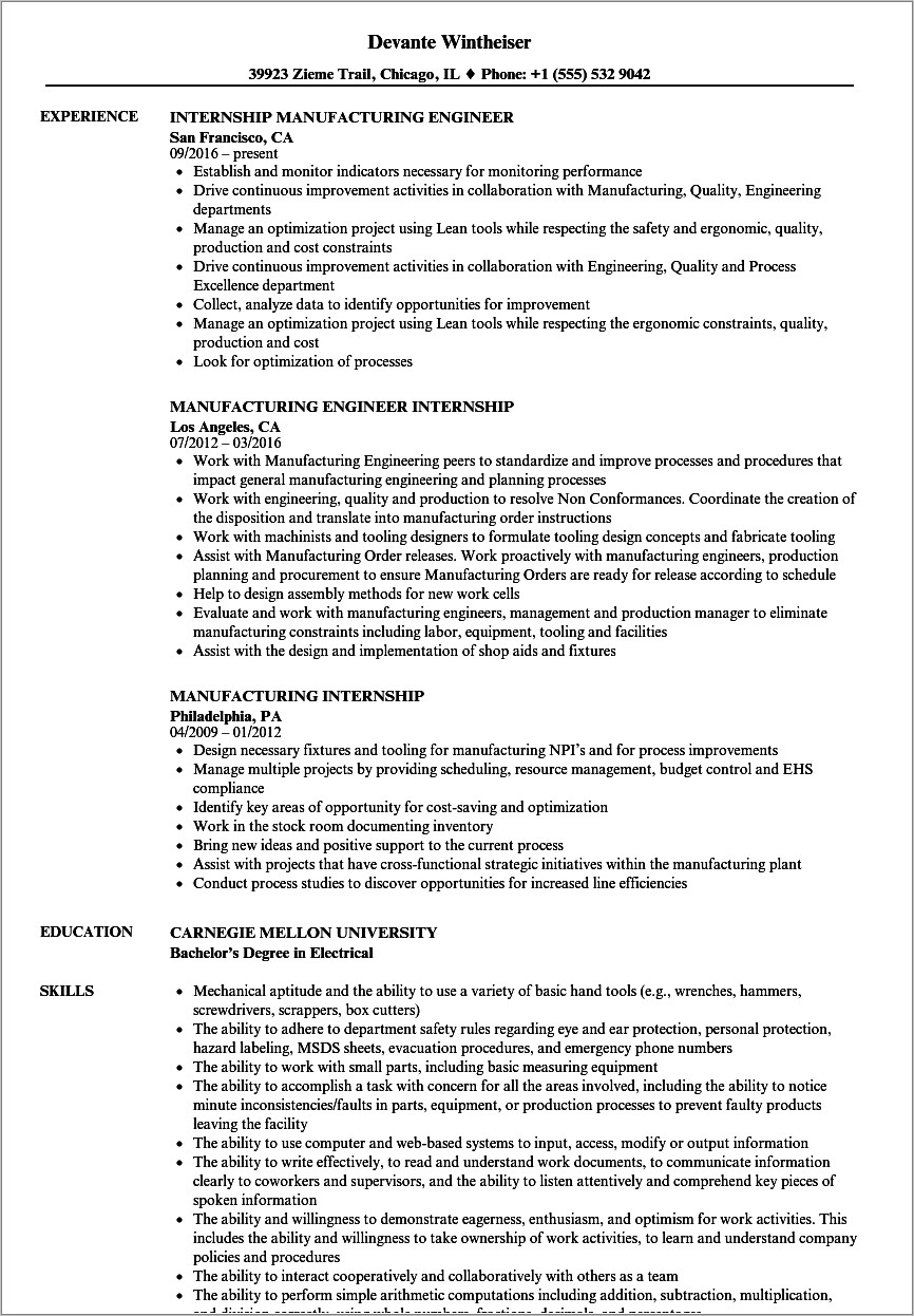 Manufacturing Resume Templates Word