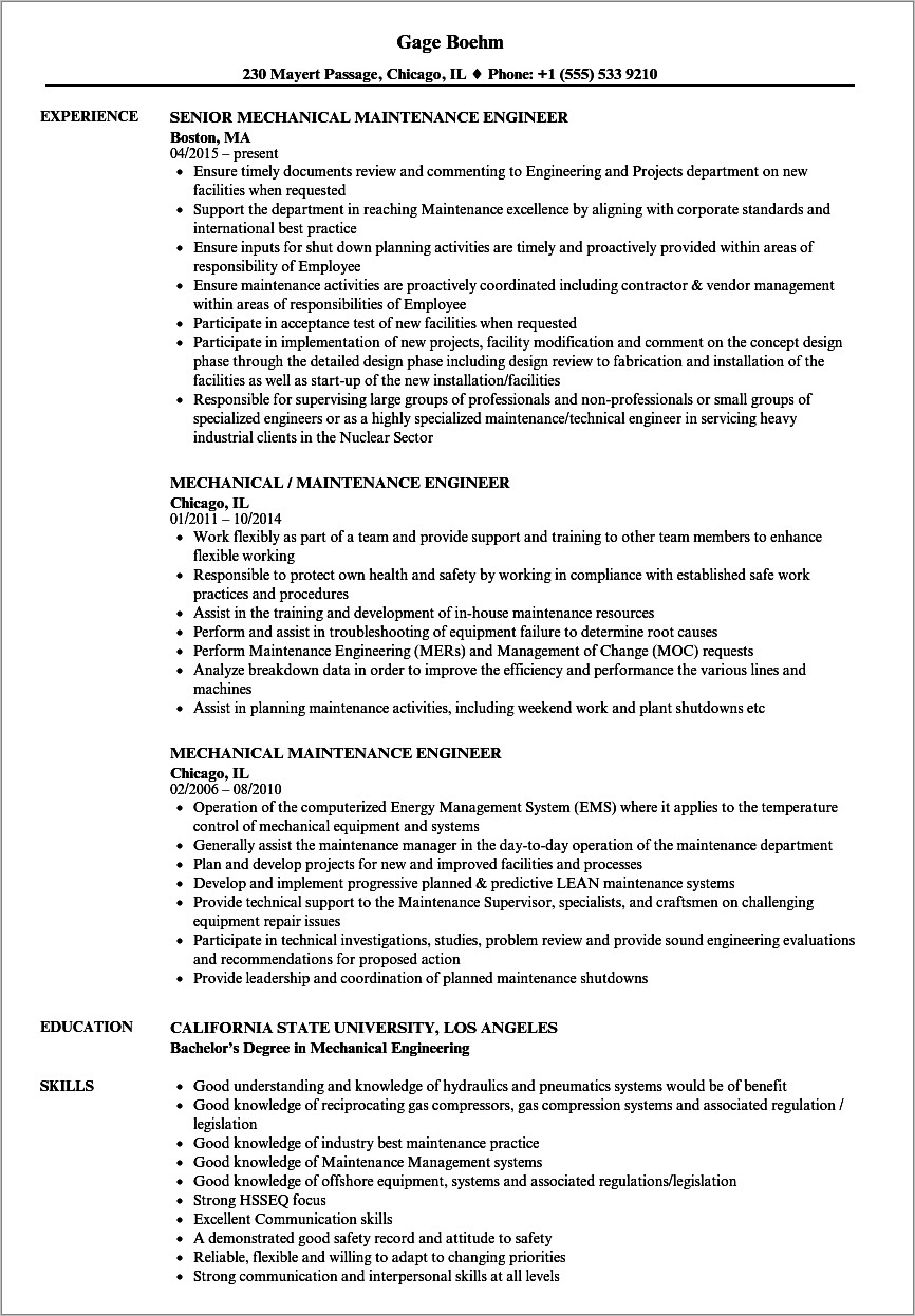 Mechanical Engineer Resume Samples Experienced