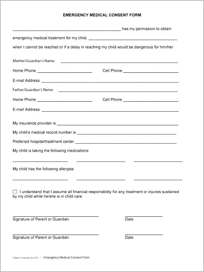 Medical Consent Form Template For Babysitter