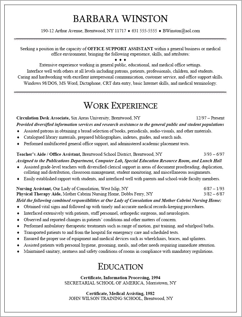 Medical Office Assistant Resume Templates