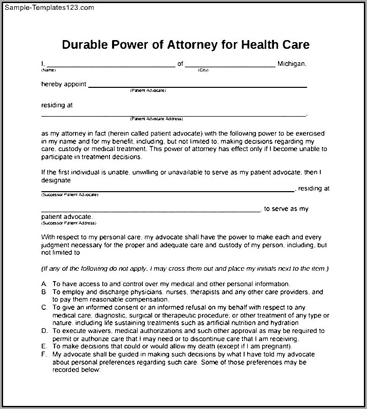 Medical Power Of Attorney Florida Template