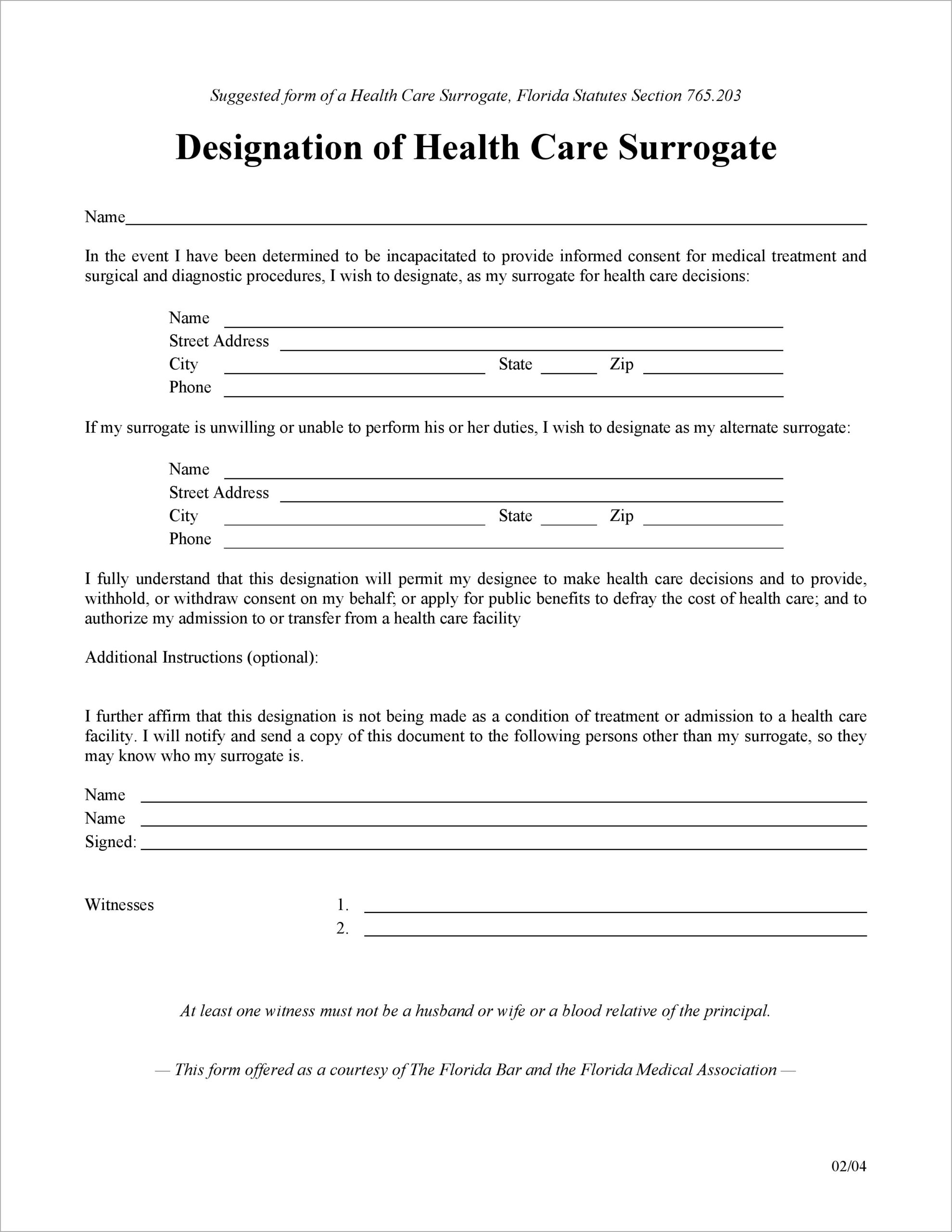 Medical Power Of Attorney Form Florida Free