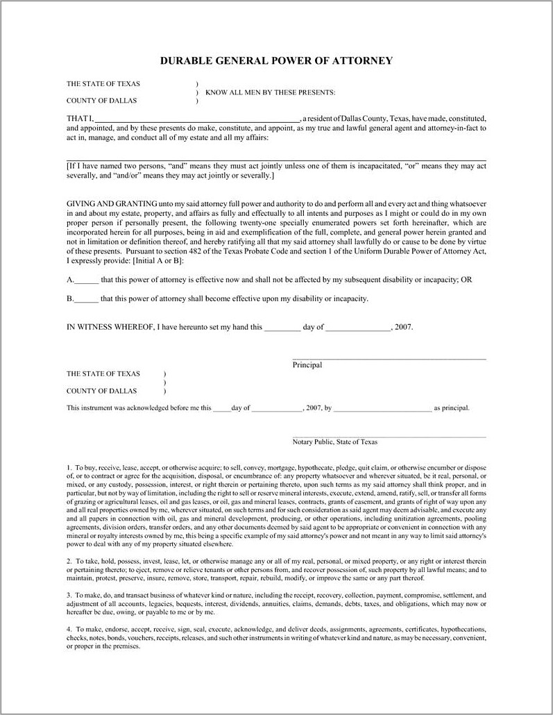 Medical Power Of Attorney Texas Form 2018
