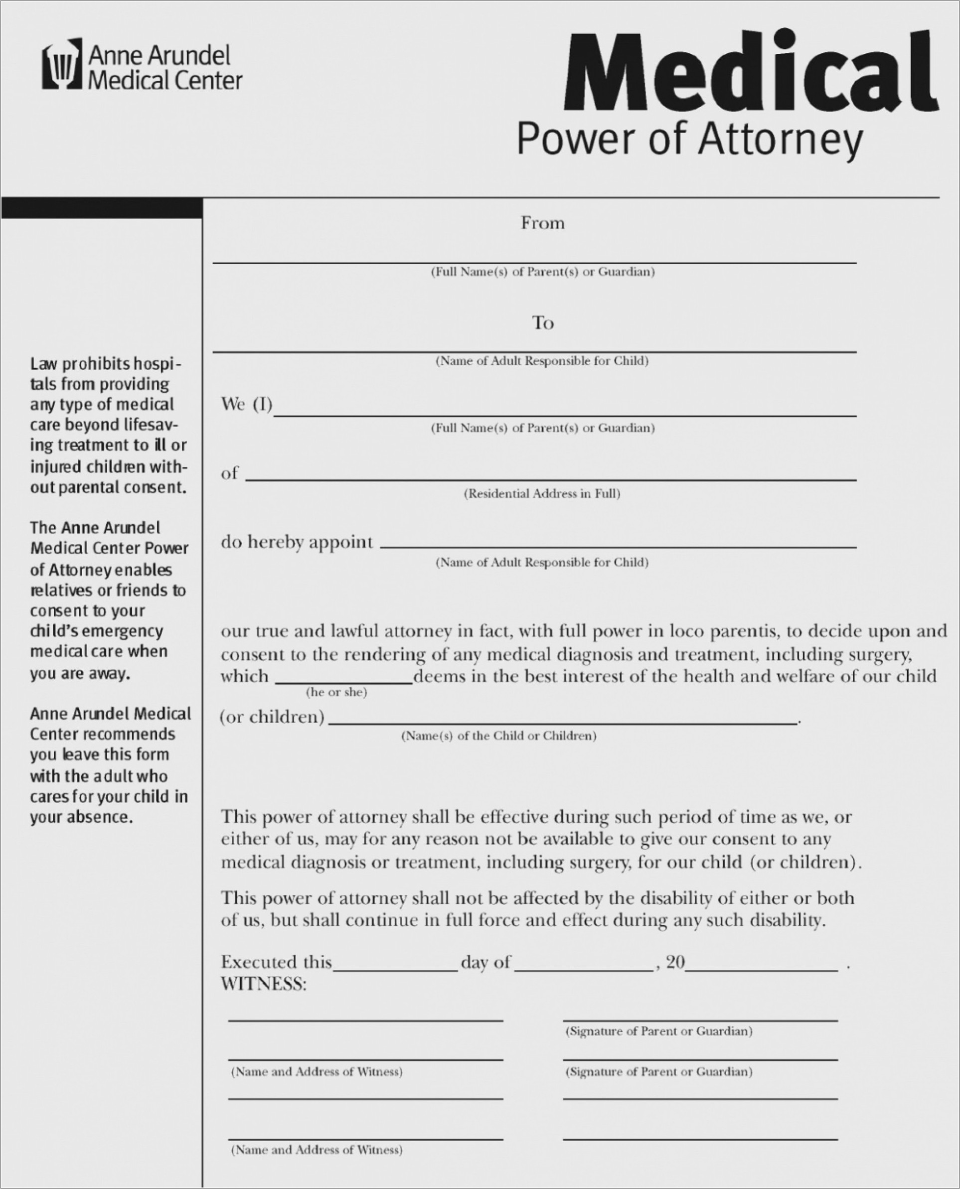 Medical Power Of Attorney Texas Template