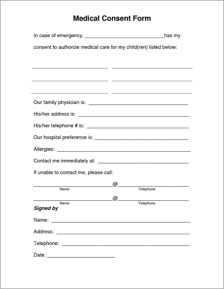 Medical Waiver Form For Minor
