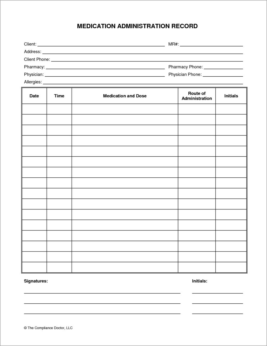 Medication Administration Record Forms Hospital