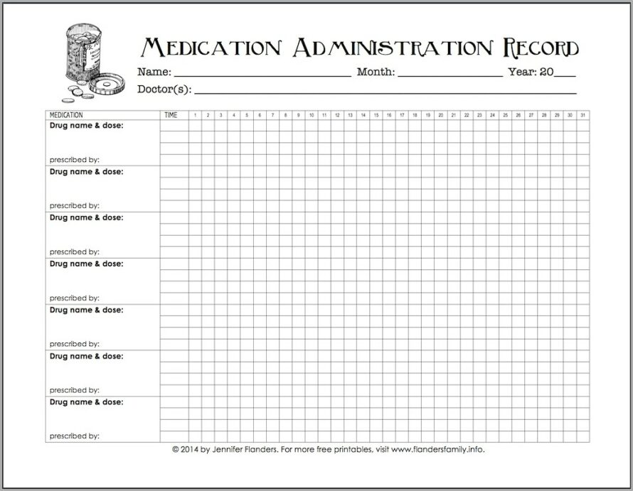 Medication Administration Record Template For Home Use