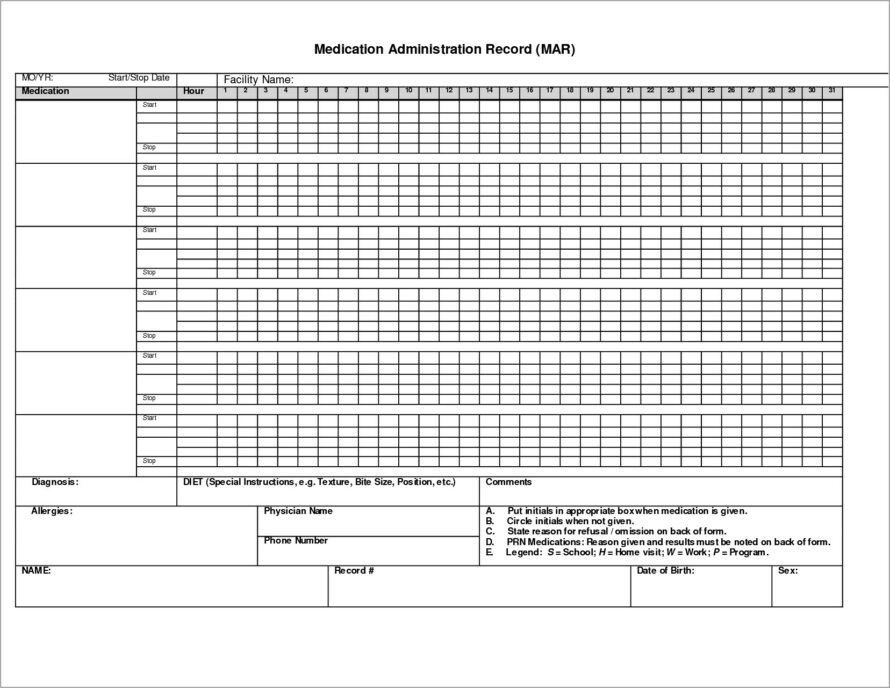 Medication Administration Record Template Word