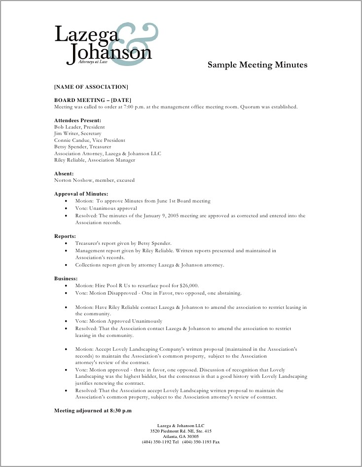 Meeting Minutes Format Example