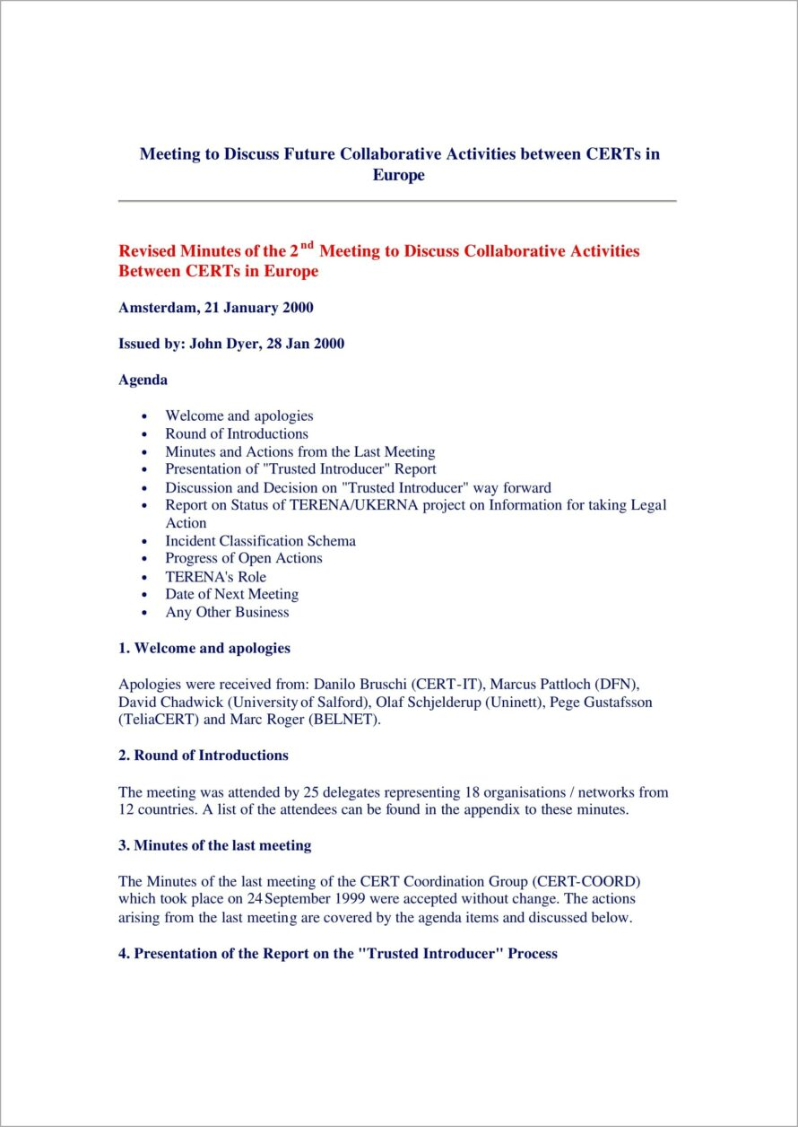 Meeting Minutes Template Word Document
