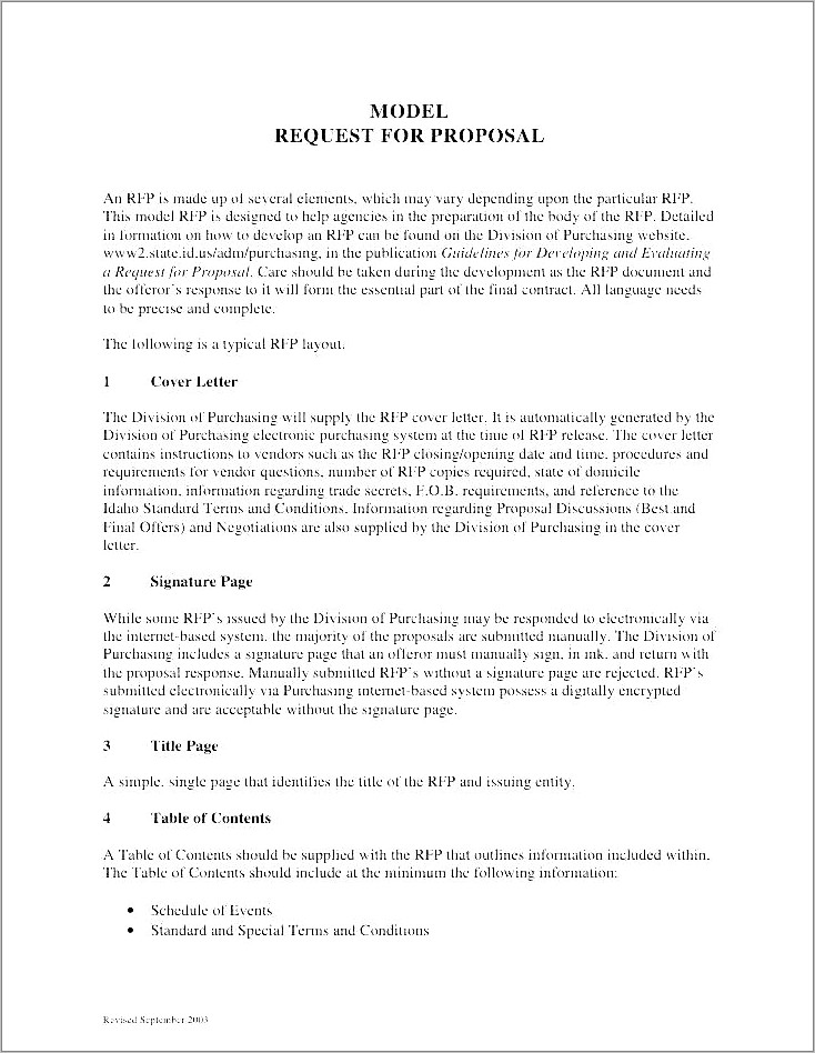 Meetings And Events Rfp Template