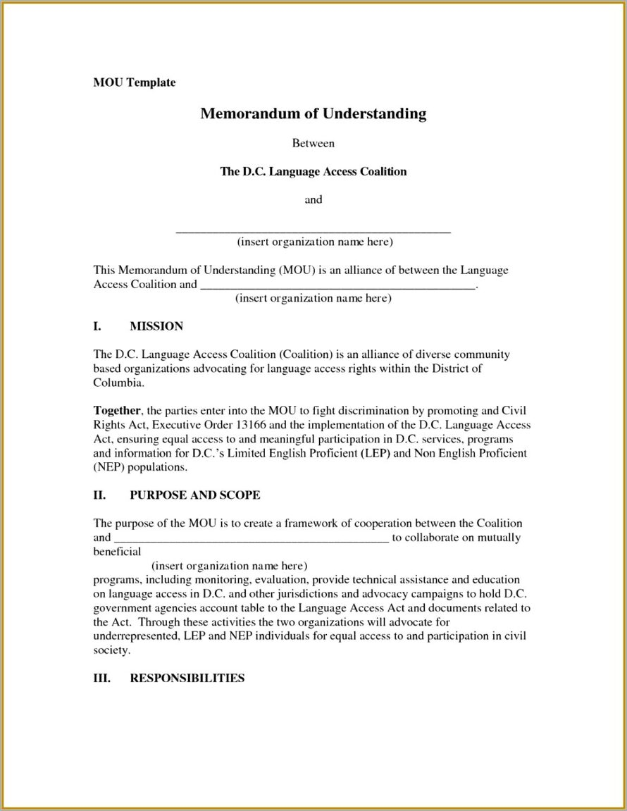 Memorandum Of Understanding Format Free Download