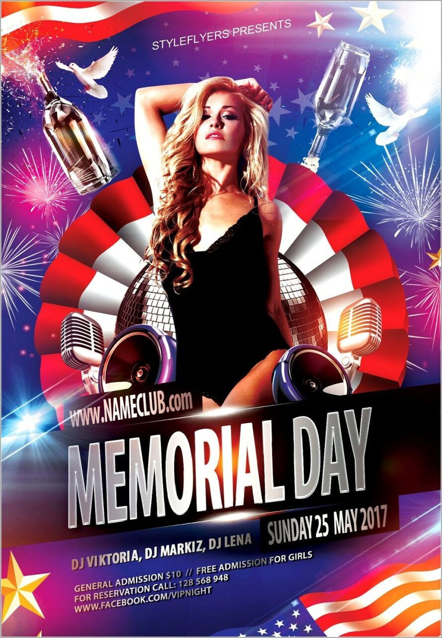 Memorial Day 2018 Flyer Template Free