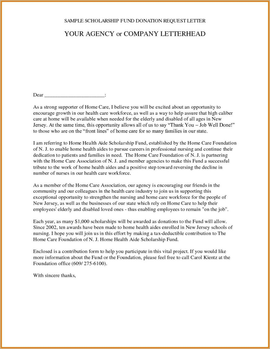 Memorial Donation Letter Example