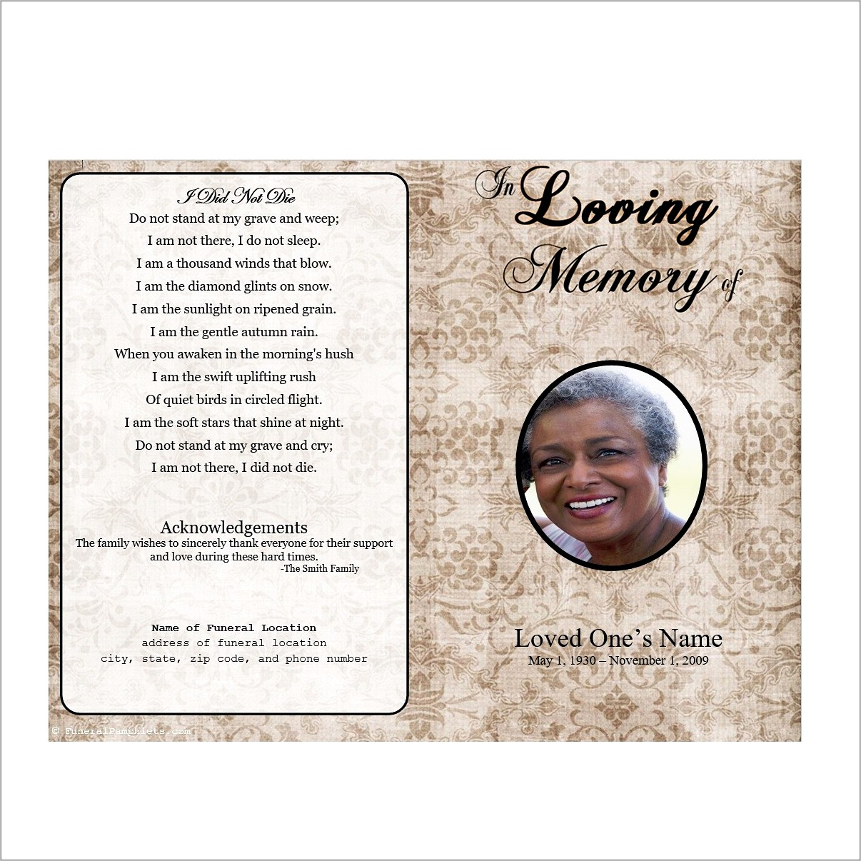 Memorial Pamphlets Free Templates