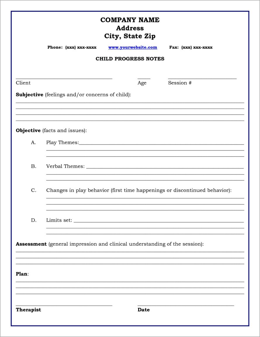 Mental Health Therapy Progress Note Template