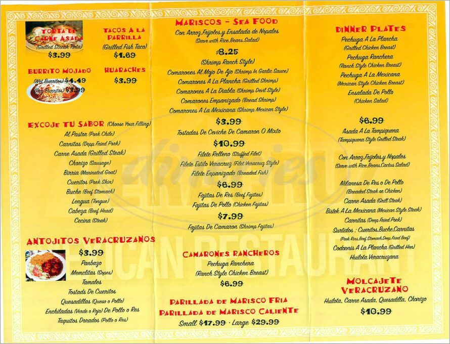 Mexican Restaurant Menu Template In Spanish