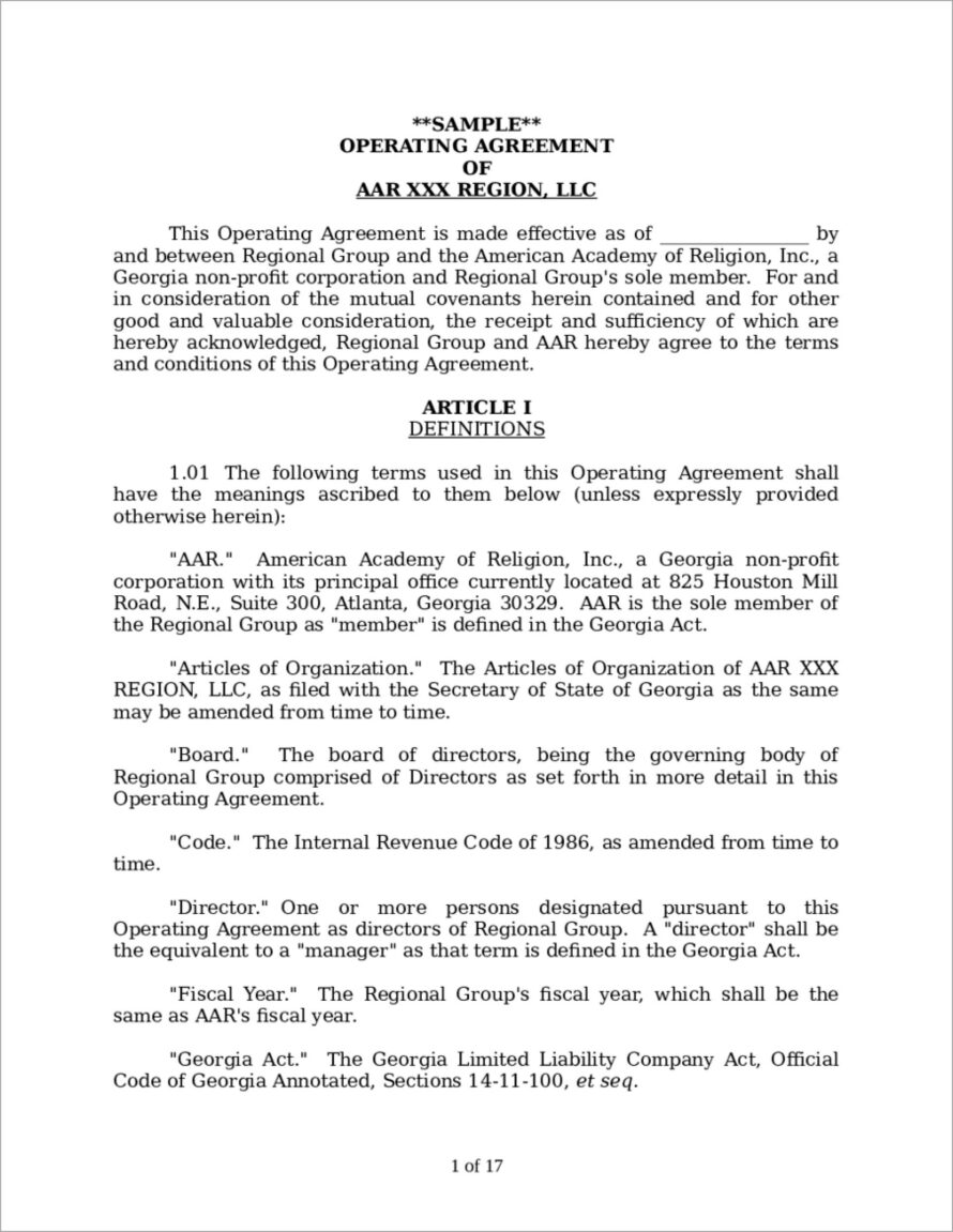 Michigan Llc Operating Agreement Template Free