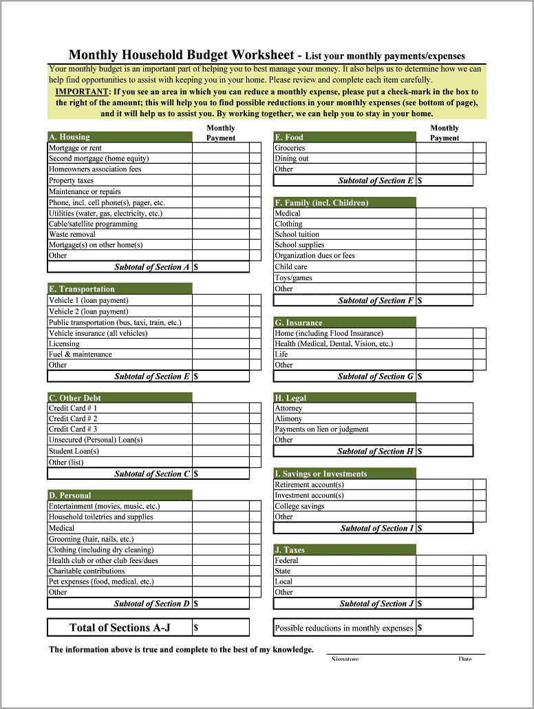 Microsoft Office Household Monthly Budget Templates