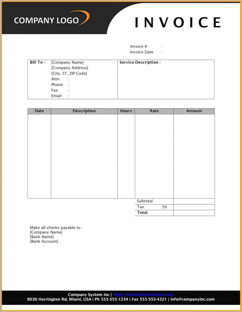 Microsoft Office Invoice Template For Word