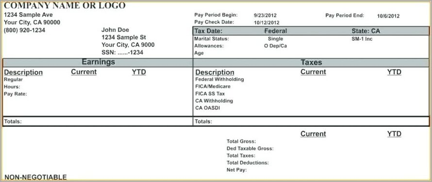 Microsoft Office Paycheck Stub Template