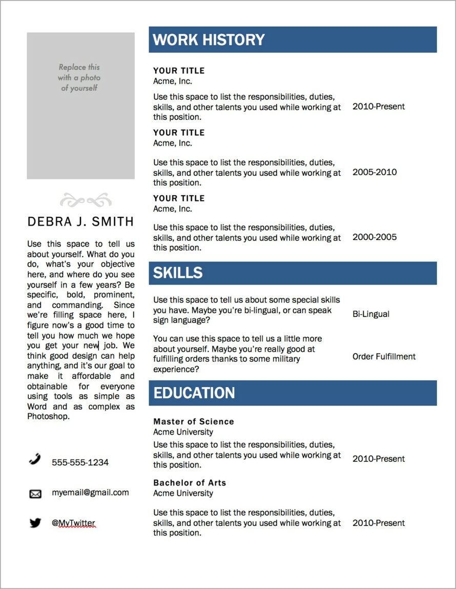 Microsoft Office Templates For Resume
