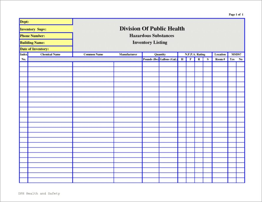 Microsoft Office Word Inventory Template