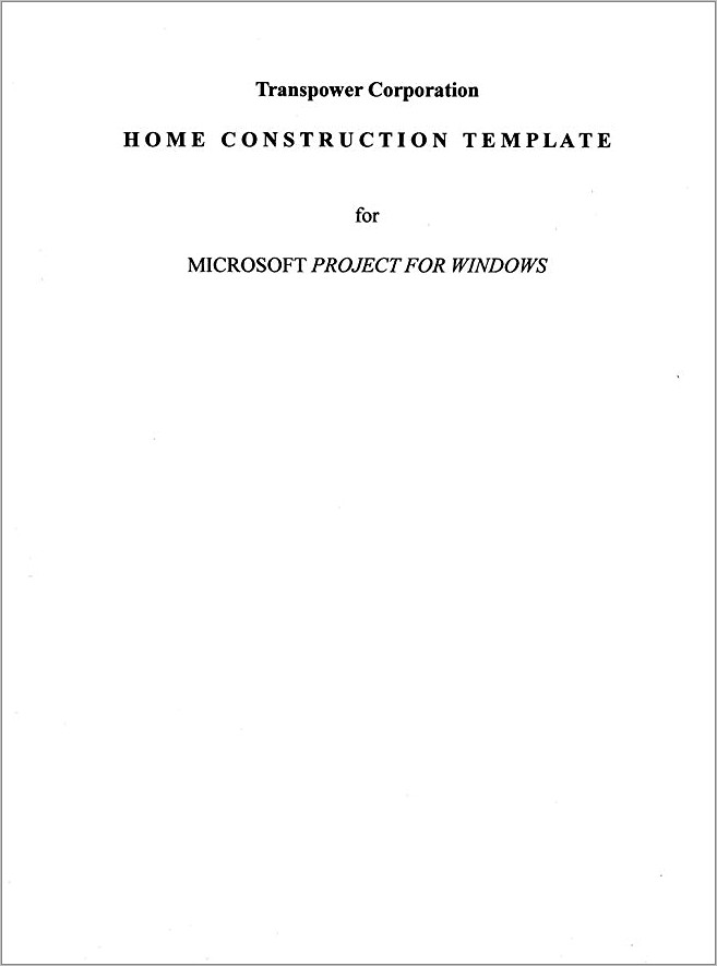 Microsoft Project Construction Template