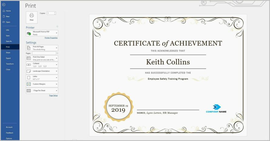 Microsoft Templates Certificate Of Recognition