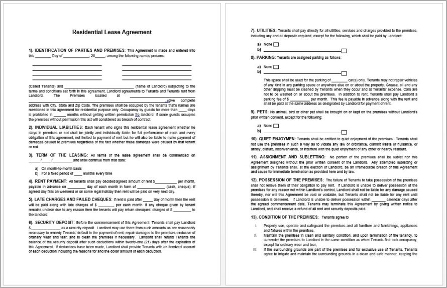 Microsoft Templates Lease Agreement