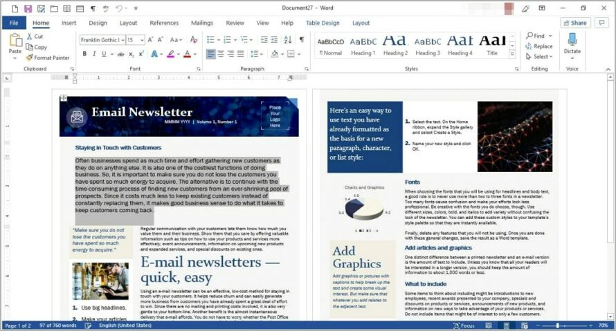 Microsoft Word 2007 Newsletter Templates