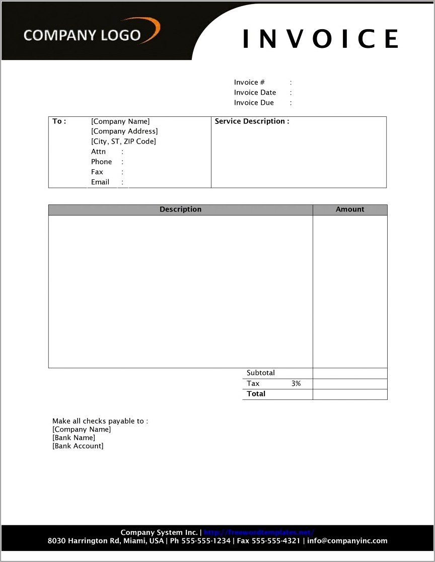 Microsoft Word 2010 Invoice Template Download