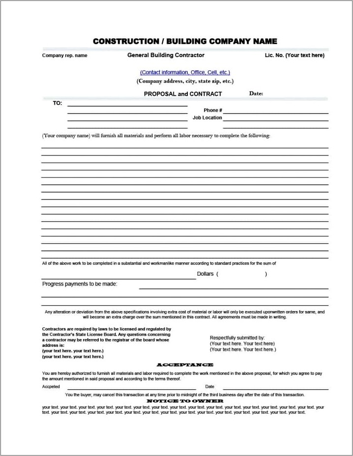 Microsoft Word Contractor Proposal Template