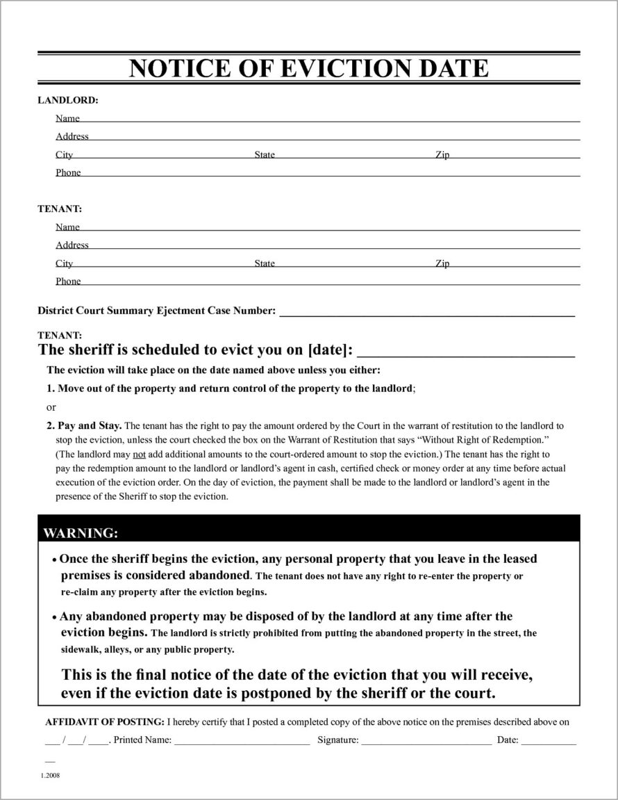 Microsoft Word Eviction Notice Template