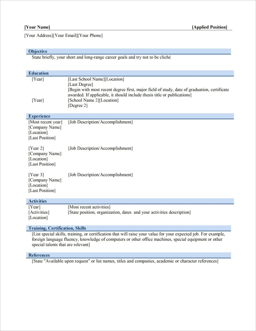 Microsoft Word Layout For Resume