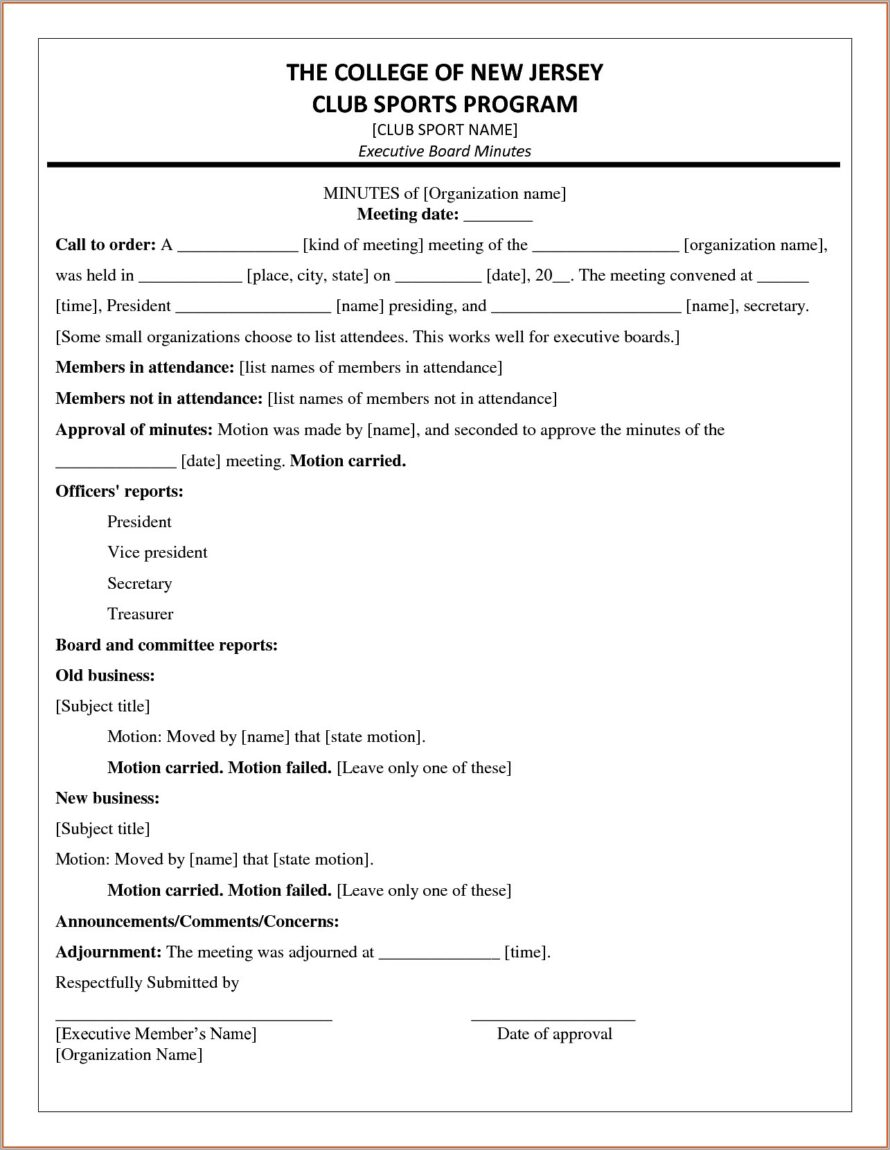 Microsoft Word Meeting Minutes Template Free