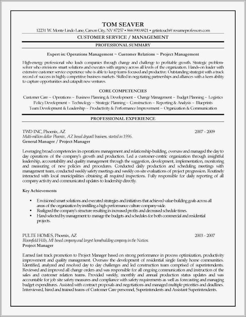 Microsoft Word Project Manager Resume Template