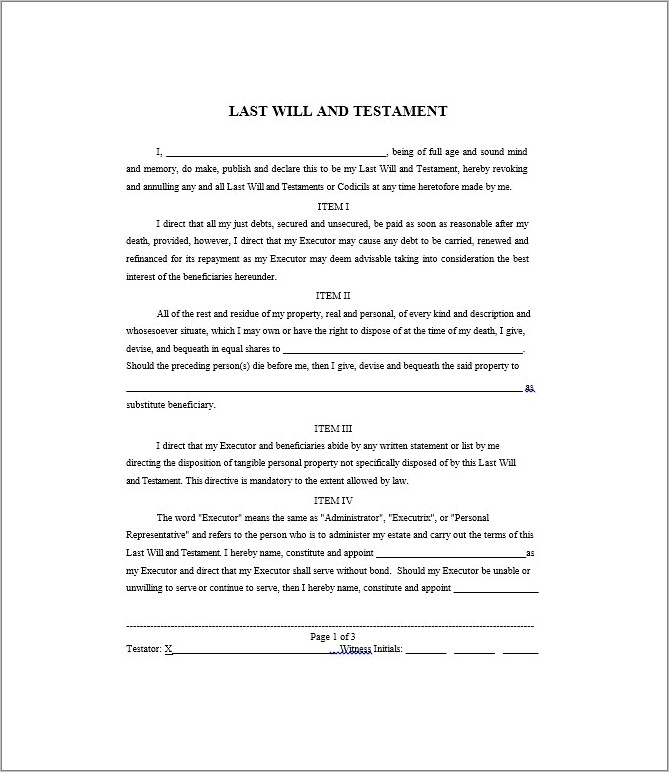 Microsoft Word Template For Wills