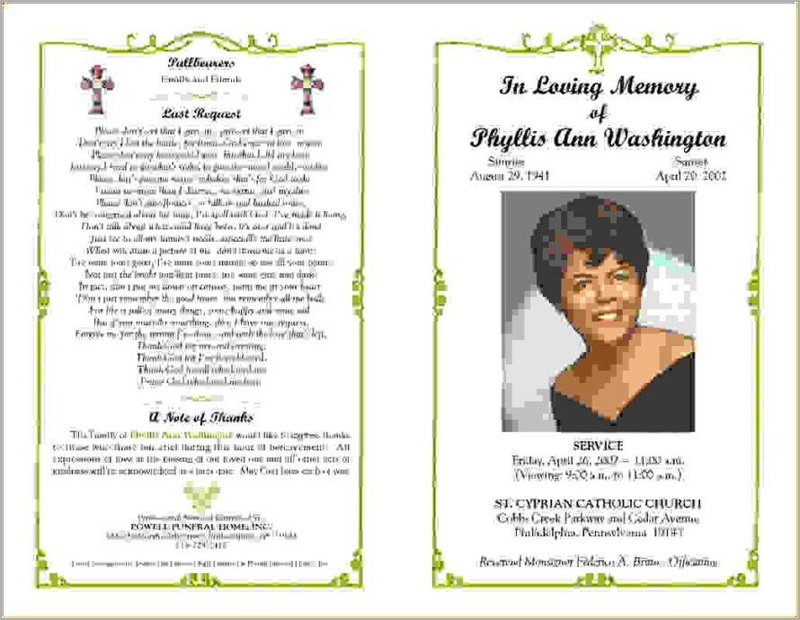 Microsoft Word Templates For Funeral Programs