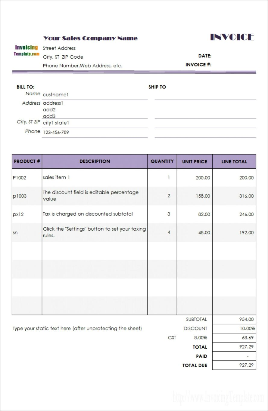 Microsoft Works Invoice Template Free Download