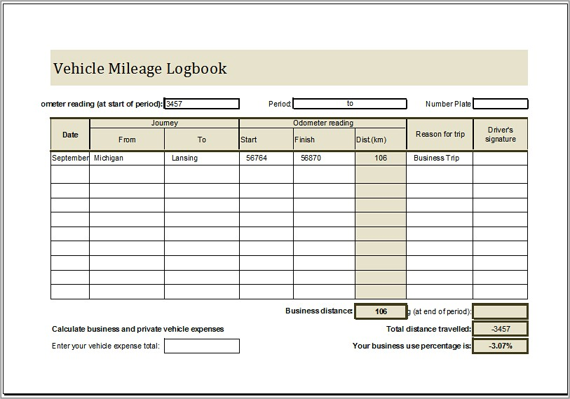 Mileage Log Book Example