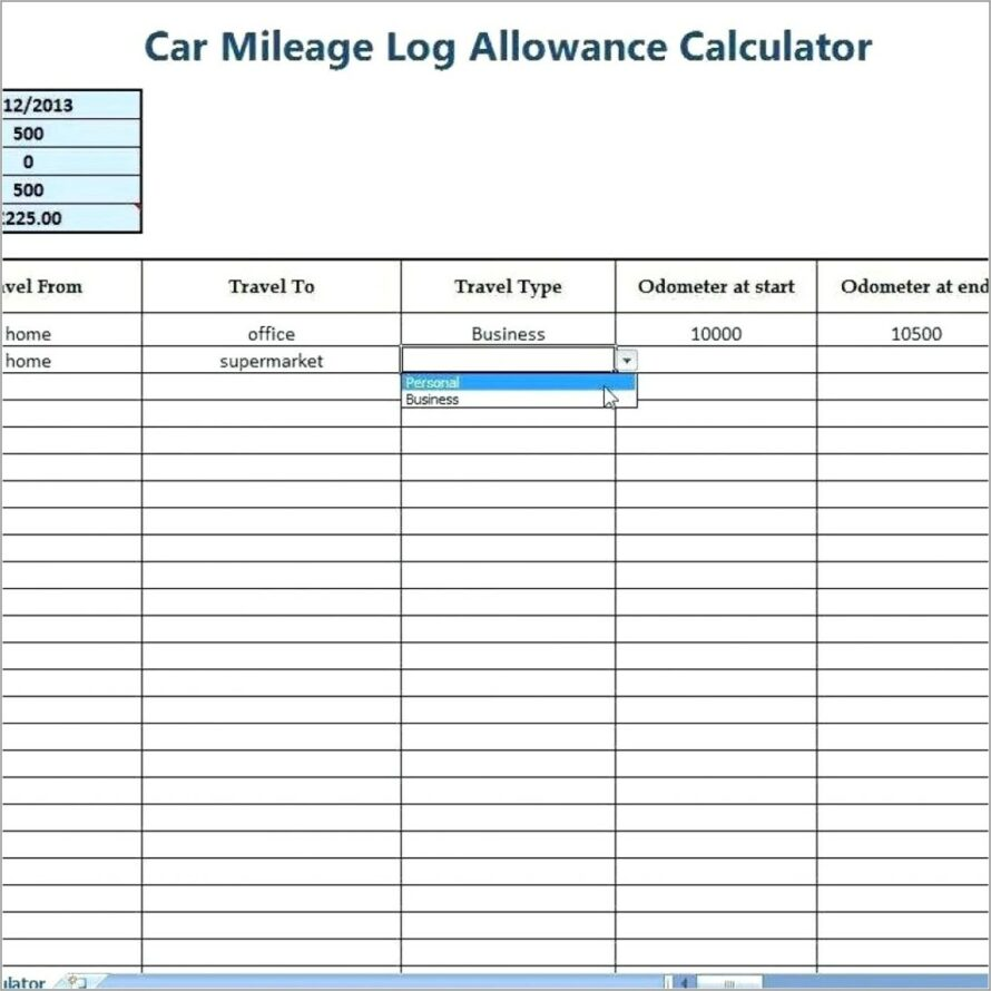Mileage Log Sheet For Taxes