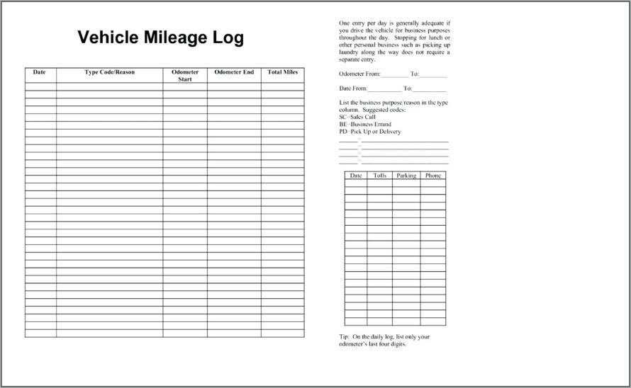 Mileage Log Template For Numbers