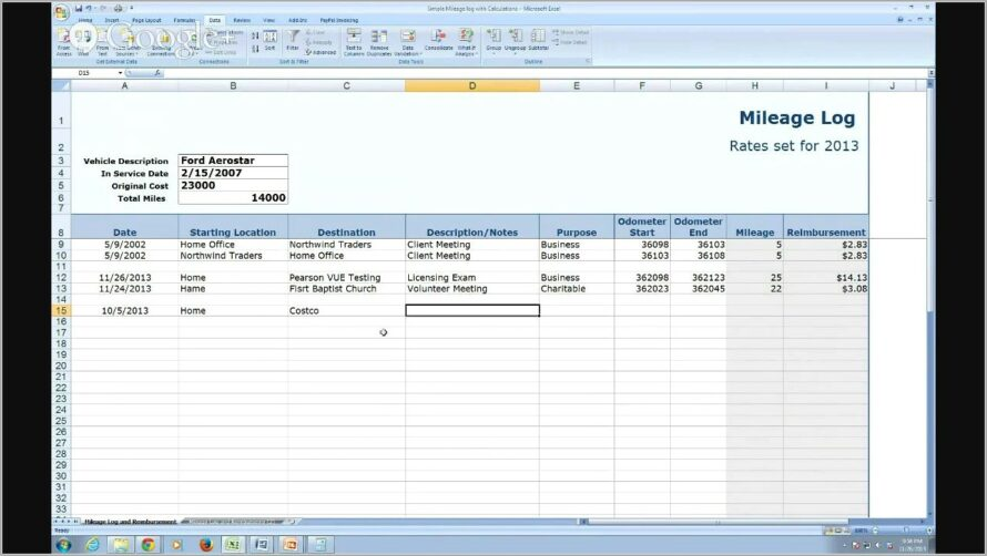 Mileage Tracker Form For Taxes