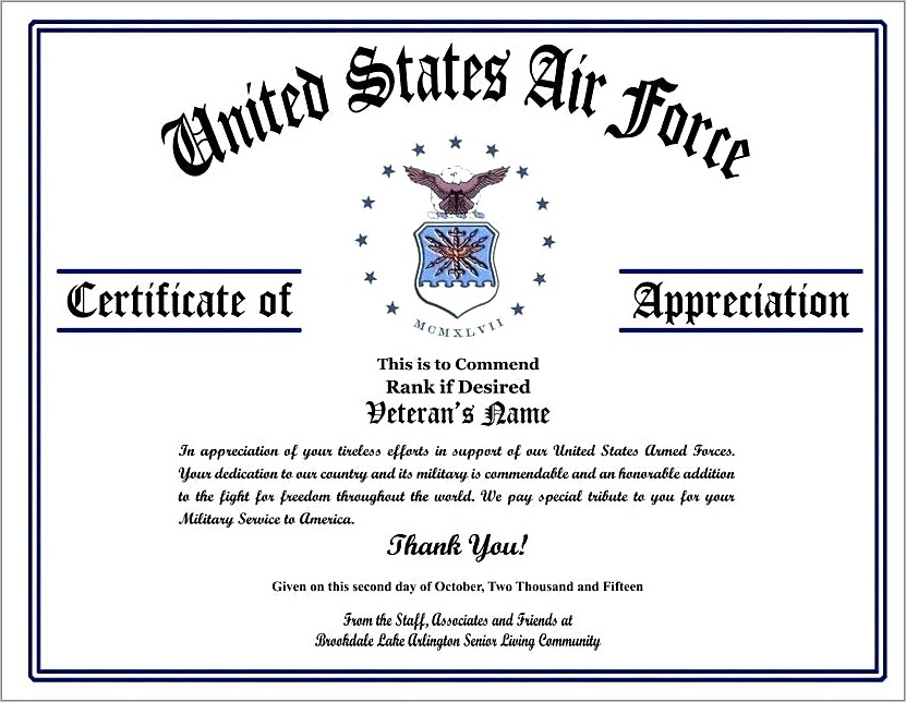 Military Child Certificate Of Appreciation Template Free