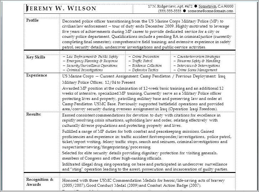Military Police To Civilian Resume Examples