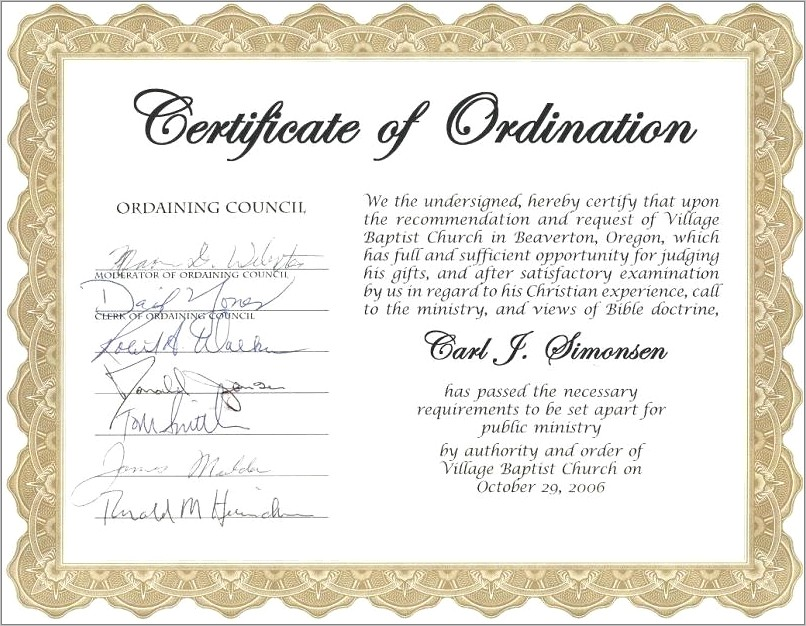 Ministry Ordination Certificate Template