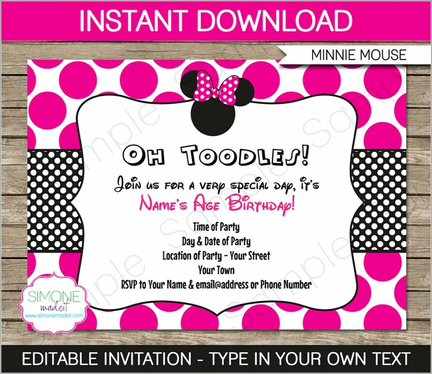 Minnie Mouse 2 Nd Birthday Invitations Template